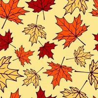 Seamless pattern with autumn maple leaves in orange, beige, brown colors. Perfect for wallpaper, gift paper, drawing fill, web page background, autumn greeting cards. vector