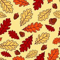 Seamless pattern with acorns and autumn oak leaves in orange, beige, brown and yellow. Perfect for wallpaper, gift paper, pattern fills, web page background, autumn greeting cards. vector