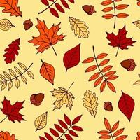 Seamless pattern with hand drawn acorns and autumn leaves in orange, beige, brown and yellow. Perfect for wallpaper, gift paper, pattern fills, web page background, autumn greeting cards. vector