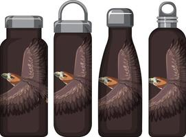 Set of different brown thermos bottles with hawk pattern vector