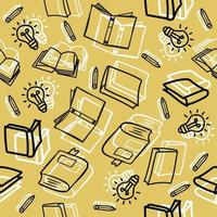 Hand drawn outline books with education items Seamless pattern vector