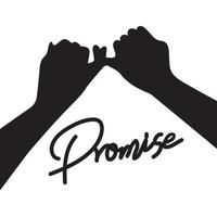 Silhouette of hand Promise  Flat design style vector