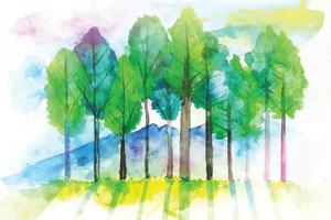 Watercolor Natural Tree Background Painting  With Landscape Vector Illustrator