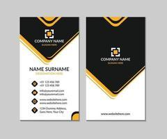 Diseño moderno de plantilla de tarjeta de visita realista amarilla y negra vector