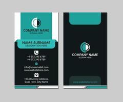 Diseño de vector de plantilla de tarjeta de visita moderna abstracta azul y negro vertical
