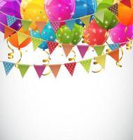 Globos de colores brillantes y banderas de fiesta ilustración de vector de fondo