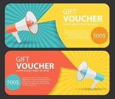 Gift Voucher Template For Your Business. Megaphone and Speech B vector