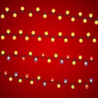 Multicolored Garland Lamp Bulbs Festive Vector Illustration