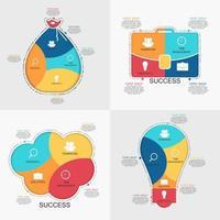 colección de plantillas de infografía para la ilustración de vector de negocio