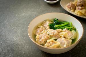 sopa de wonton de cerdo o sopa de bola de masa de cerdo con verduras - estilo de comida asiática foto