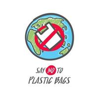 Hand drawn save the earth sign. No plastic bag icon. Say no to plastic bag. vector