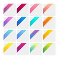 Set of colorful corner ribbons. vector