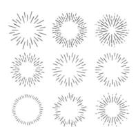 Vintage Sunburst Explosion Hand drawn Design Elements Fireworks Black Rays. Set of Black Sunbursts Graphic Elements. vector