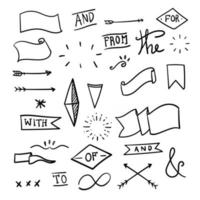 Set Of Decorative Calligraphic Elements For Decoration. Hand drawn lines. Hand-lettered ampersands and catchwords. vector