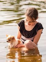Portrait of a young girl, with her chihuahua. Fluffy puppy. girl and a puppy. Girl, river photo
