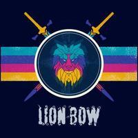 retro rainbow lion head design vector