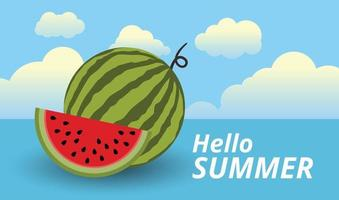 Hello summer background and fresh watermelons vector design