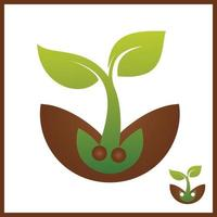 Sprout eco logo, green leaf seedling, growing plant Abstract design concept for eco technology theme. Ecology icon vector