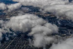 Una vista de Chicago desde el aire durante el aterrizaje, Chicago, Illinois, Estados Unidos foto