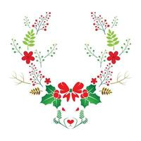 Vector illustration deer head with nature and flower elements
