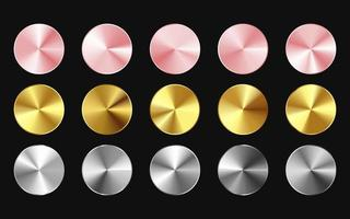 Gold, Rose Gold Silver Metal buttons vector eps
