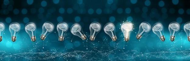 Light bulbs with brain inside, digital 3D concept photo