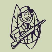 Hunter with rifle. Concept art of hunting in monochrome style. vector