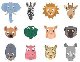 conjunto de cabezas de animales africanos. vector