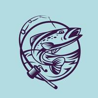 Salmon with spinning rod. Concept art of fishing in monochrome style. vector