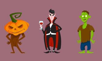 Set of scary monsters. Halloween characters in cartoon style. vector