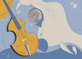 Banner template with violin and french horn. vector