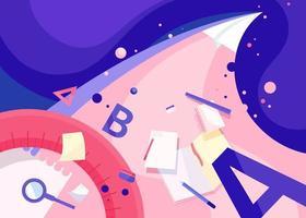 Plantilla de banner abstracto con avión de papel. arte conceptual de la escuela. vector