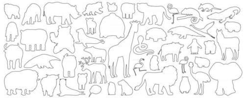 Big set of doodle cartoon isolated African American forest animals icons. Vector outline tiger lion rhinoceros buffalo zebra elephant giraffe crocodile tapir hippo bear orangutan penguin flamingo