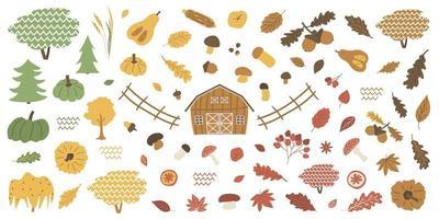 conjunto de elementos de otoño aislados de bosque de granja. granero bellota boletus, agárico de mosca, viburnum, hojas de arce, roble maíz calabaza nueces castañas manzanas naranjas canela. Ilustración vectorial sobre fondo blanco vector