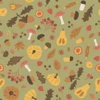Autumn Halloween seamless pattern. Vector illustration of acorn boletus, fly agaric, viburnum, leaves maple oak, corn, pumpkin, nuts, chestnuts, apples, oranges, cinnamon on green background