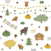 Autumn Seamless pattern of boar, piglets family. Vector childish illustration of hand drawn leaves, acorn, pumpkin, mushrooms, barn, fence, christmas trees