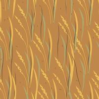 Autumn hand drawn abstract cartoon wheat with leaves seamless pattern. Vector illustration on brown background