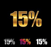 Golden and Silver 15 percent sign vector