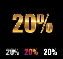 Golden and Silver 20 percent sign vector