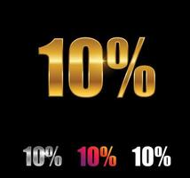 Golden and Silver 10 percent sign vector
