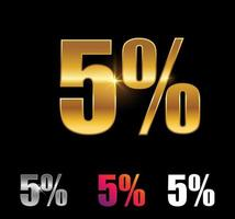 Golden and Silver 5 percent sign vector