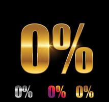 Golden and Silver 0 percent sign vector