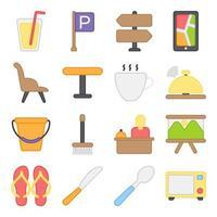 paquete de iconos planos de hotel y vacaciones vector