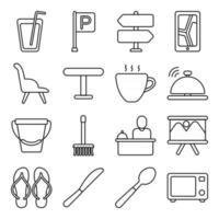 paquete de iconos lineales de hotel y vacaciones vector