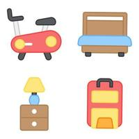 Pack of Hotel and Journey Flat Icons vector