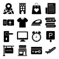 Pack of Hotel Solid Icons vector