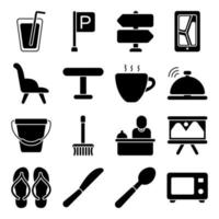 paquete de iconos sólidos de hotel y vacaciones vector