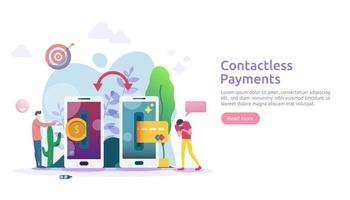 mobile payment or money transfer concept. contactless, wireless or cashless payments with smartphone NFC technology. template for web landing page, banner, presentation, social media, print media vector