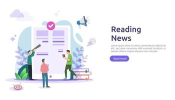 reading newspapers and online news article media on smartphone concept with people character. flat illustration template for web landing page, banner, presentation, social, poster, ad or print media vector