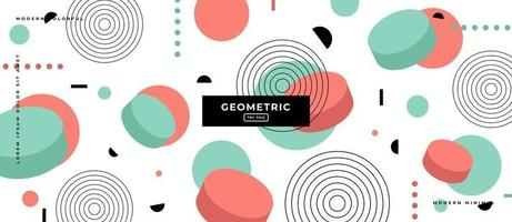 Memphis Style Geometric Shapes in White Background. vector